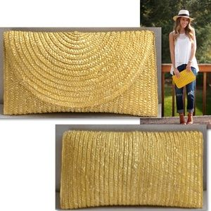 Shirleah Summer Yellow Straw Large Clutch